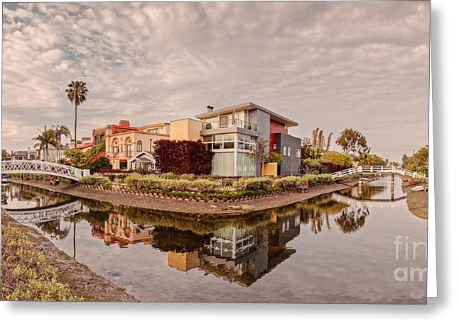 Panorama Of Venice Beach Canals - Los Angeles California Greeting Card by Silvio Ligutti