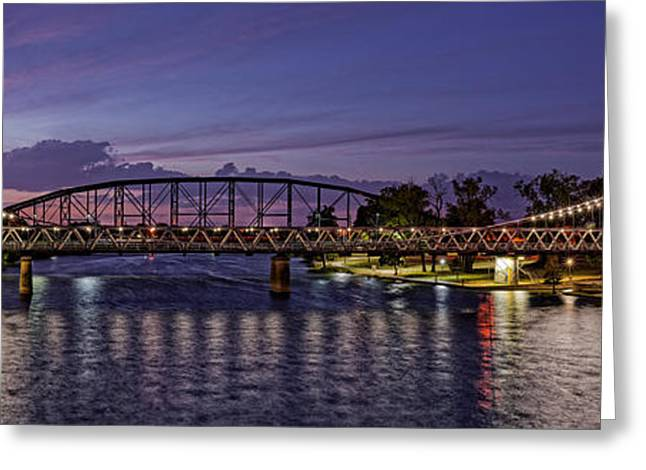 Panorama Of Waco Suspension Bridge Over The Brazos River At Twilight - Waco Central Texas Greeting Card by Silvio Ligutti