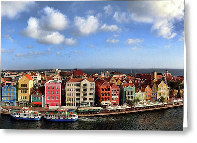 Panorama Of Willemstad Harbor Curacao Greeting Card by David Smith