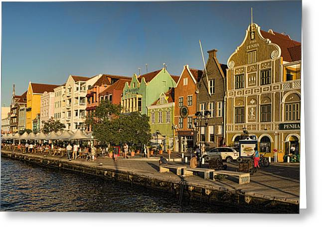 Panorama Of Willemstad Waterfront Curacao Greeting Card by David Smith