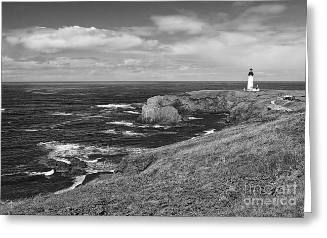 Panorama Of Yaquina Lighthouse. Greeting Card