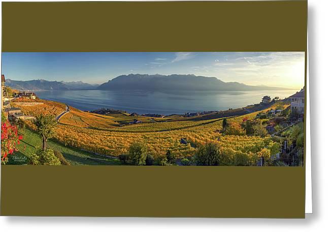 Panorama On Lavaux Region, Vaud, Switzerland Greeting Card