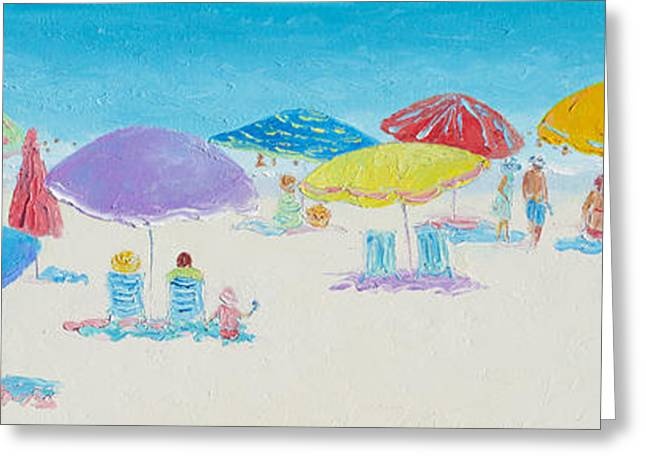 Panorama Painting Of Main Beach East Hampton Greeting Card