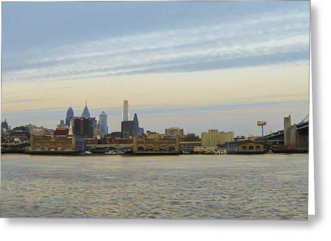 Panorama - Philadelphia Cityscape Greeting Card by Bill Cannon