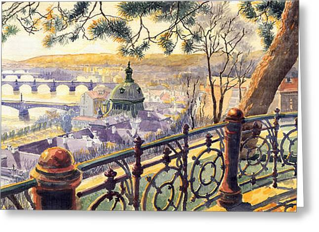 Panorama Prague Bridges Greeting Card by Yuriy  Shevchuk