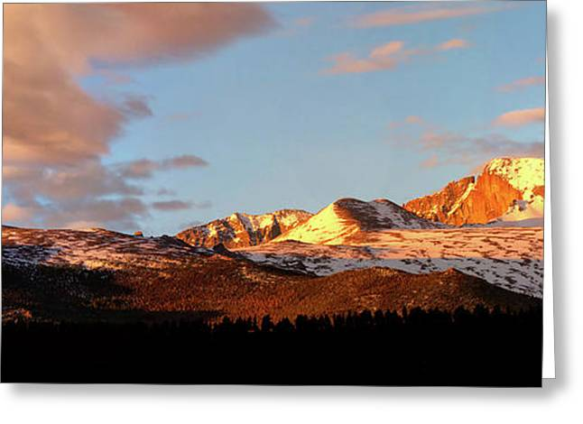 Panorama View Of Longs Peak At Sunrise Greeting Card