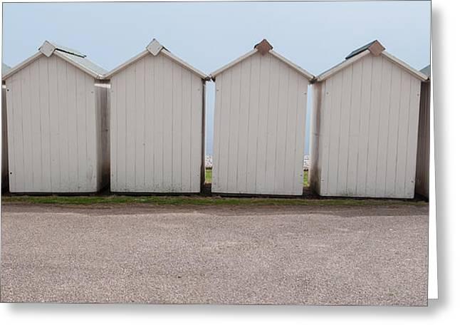 Panoramic Beach Huts Greeting Card by Helen Northcott