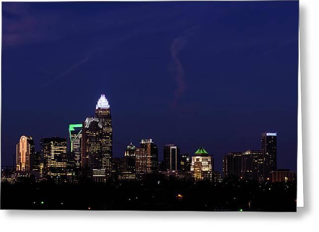 Panoramic Charlotte, North Carolina Greeting Card by Serge Skiba
