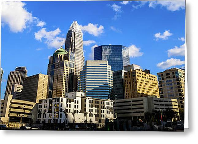 Panoramic Charlotte Skyline Photo Greeting Card by Paul Velgos