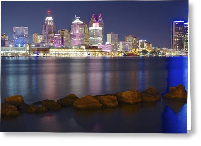 Panoramic Detroit Greeting Card by Frozen in Time Fine Art Photography