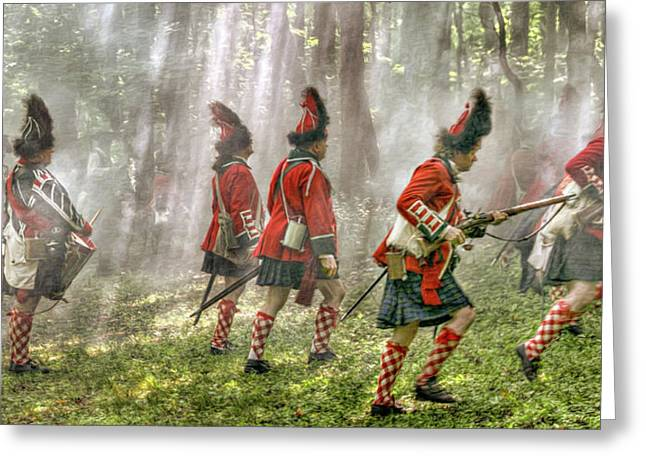 Panoramic French And Indian War Battle Greeting Card by Randy Steele