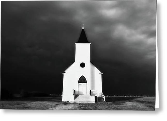 Panoramic Lightning Storm And Prairie Church 2 Greeting Card by Mark Duffy