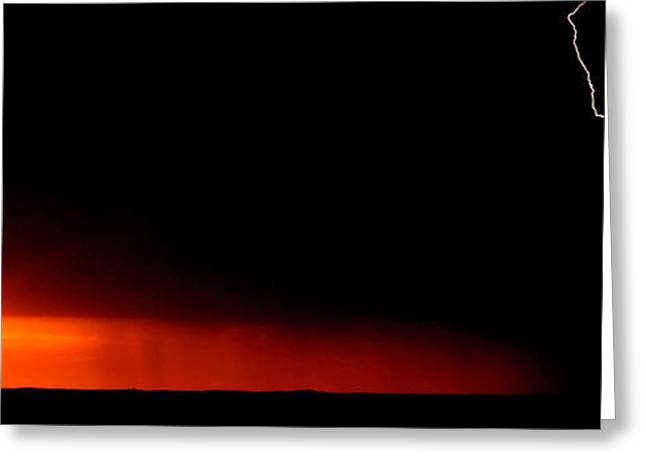 Abstract Rain Greeting Cards - Panoramic Lightning Storm and sunset Greeting Card by Mark Duffy