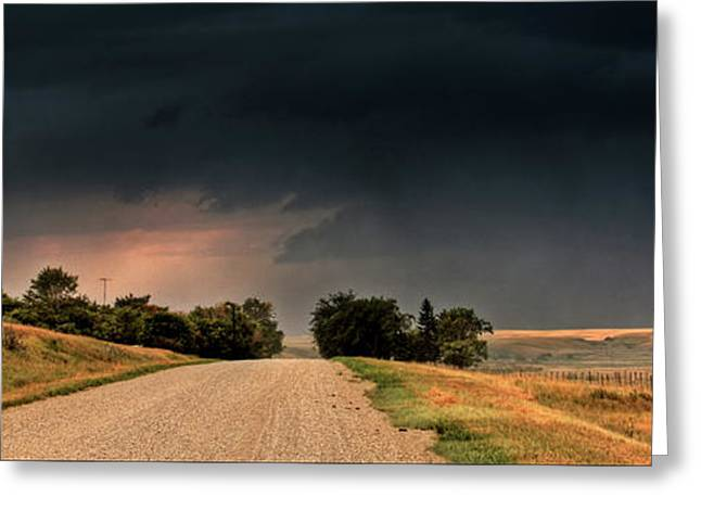 Dazzled Greeting Cards - Panoramic Lightning Storm in the Prairie Greeting Card by Mark Duffy