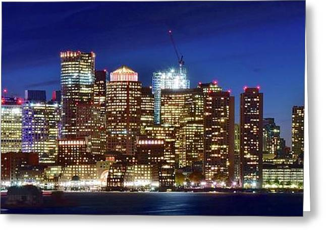 Panoramic Lights On A Boston Night Greeting Card by Frozen in Time Fine Art Photography