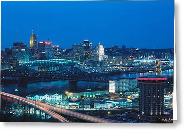 Panoramic Night Shot Of Cincinnati Greeting Card by Panoramic Images