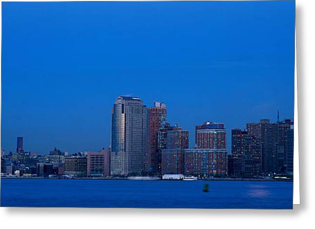 Panoramic Night View Of Empire State Greeting Card by Panoramic Images