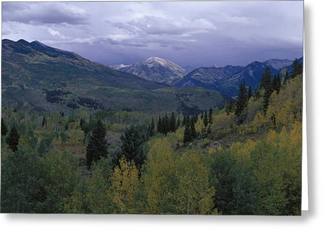 Panoramic Of Autumn Color With Storm Greeting Card