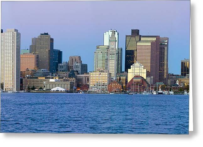Panoramic Of Boston Harbor Greeting Card