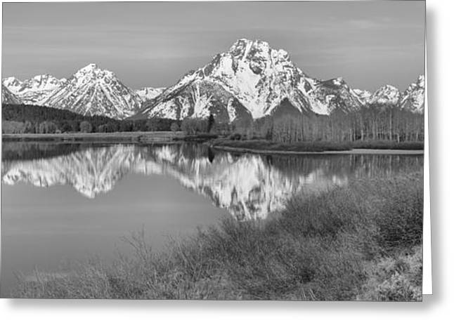Panoramic Reflections At Oxbow Black And White Greeting Card by Adam Jewell