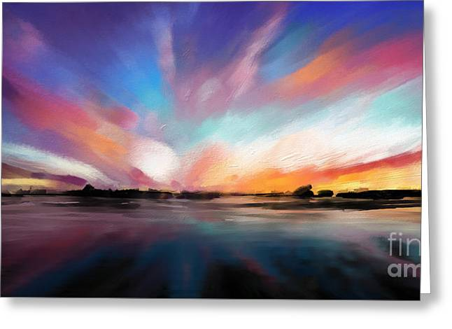 Panoramic Seascape Greeting Card by Melanie D