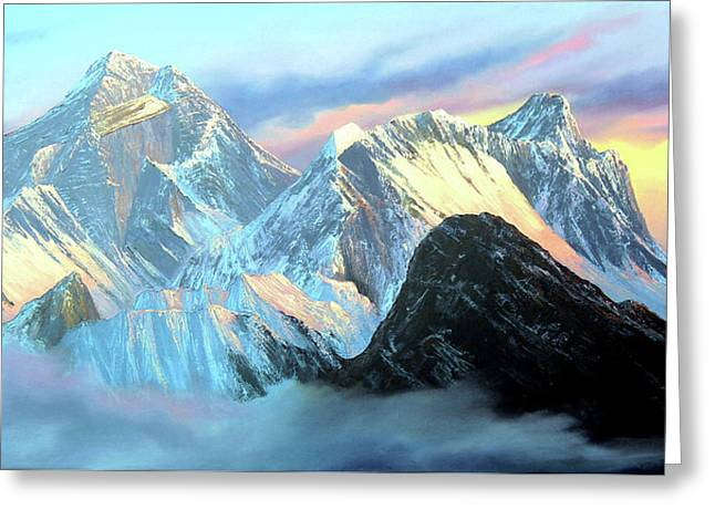 Panoramic Sunrise View Of Everest Mountain Greeting Card