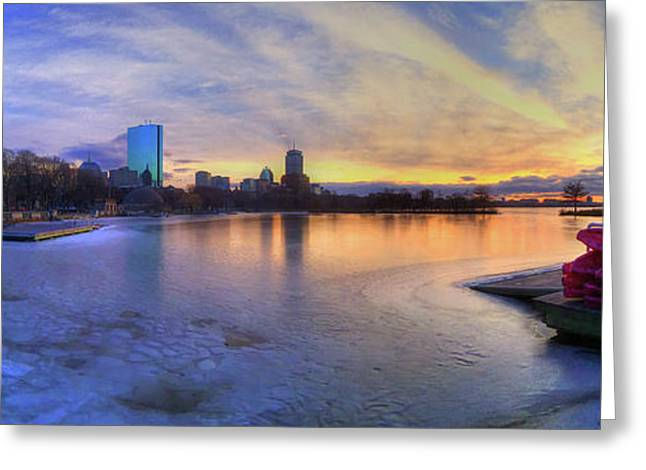 Panoramic Sunset Over The Boston Skyline Greeting Card by Joann Vitali