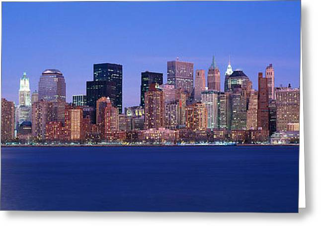 Panoramic Sunset View Of Empire State Greeting Card by Panoramic Images
