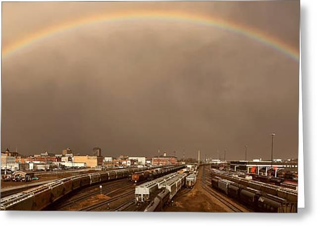 Abstract Rain Greeting Cards - Panoramic Train Yard Storm Greeting Card by Mark Duffy