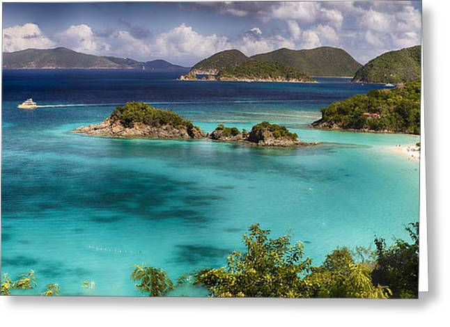 Panoramic View Of A Beach With Turquoise Waters Greeting Card by George Oze