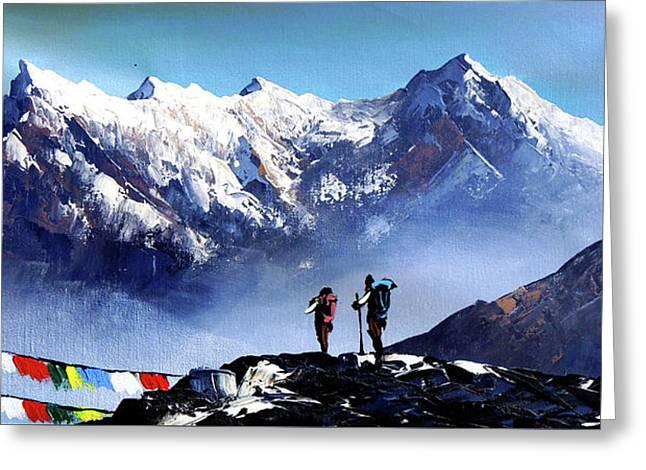 Panoramic View Of Ama Dablam Peak Everest Mountain Greeting Card