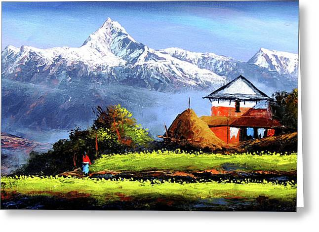 Panoramic View Of Beautiful Everest Mountain Greeting Card by Whimsy Art