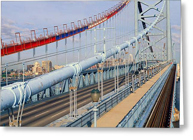 Panoramic View Of Ben Franklin Bridge Greeting Card by Panoramic Images