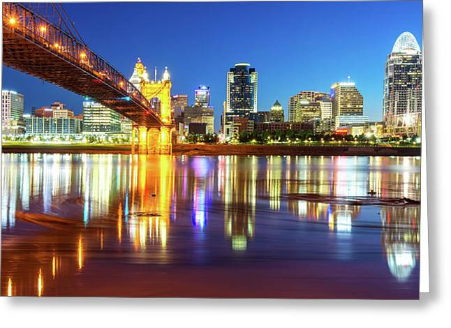 Greeting Card featuring the photograph Panoramic View Of Cincinnati Ohio - Colorful City Skyline by Gregory Ballos
