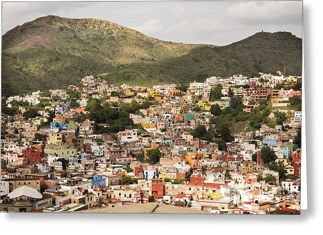 Panoramic View Of Colorful Hillside Homes In Guanajuato Mexico Greeting Card