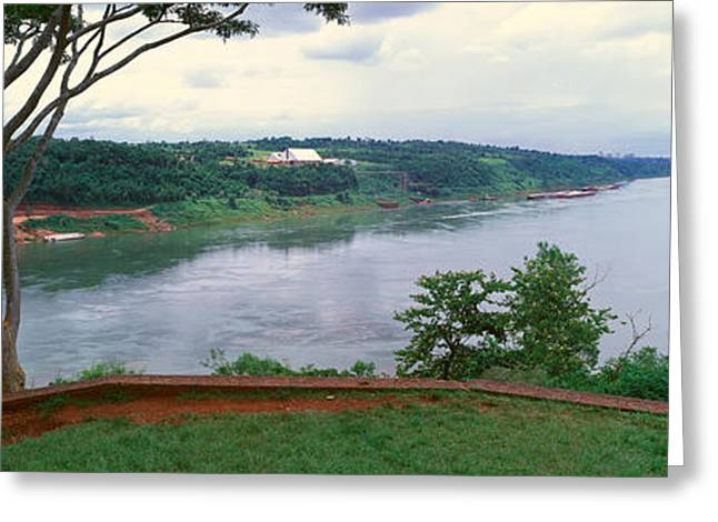 Panoramic View Of Confluence Of Iguazu Greeting Card by Panoramic Images