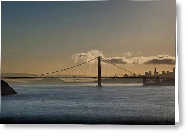 Panoramic View Of Downtown San Francisco Behind The Golden Gate  Greeting Card
