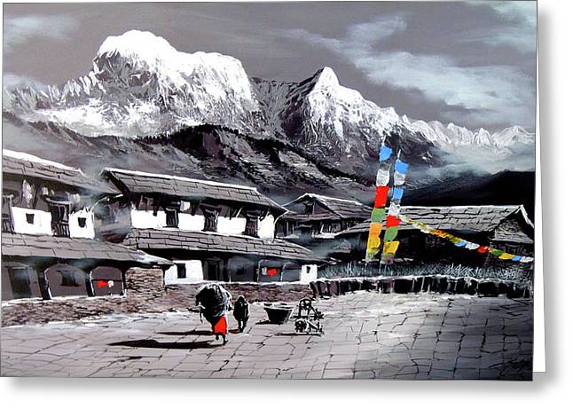 Panoramic View Of Everest Base Camp Greeting Card