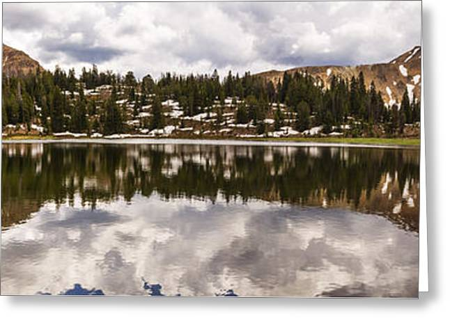 Panoramic View Of Fourth Of July Lake In Stanley Idaho Greeting Card