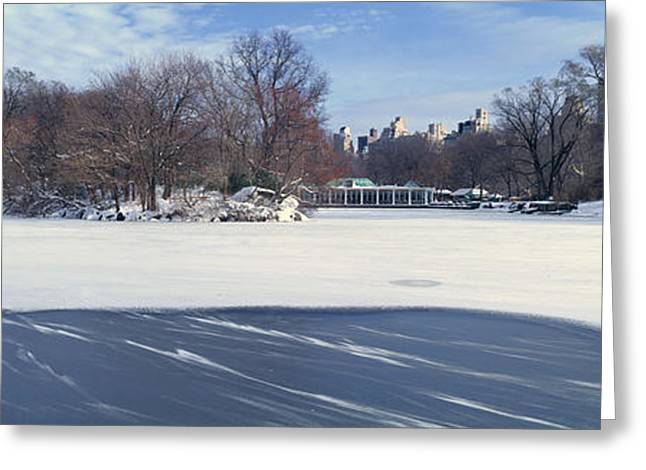 Panoramic View Of Frozen Pond Greeting Card