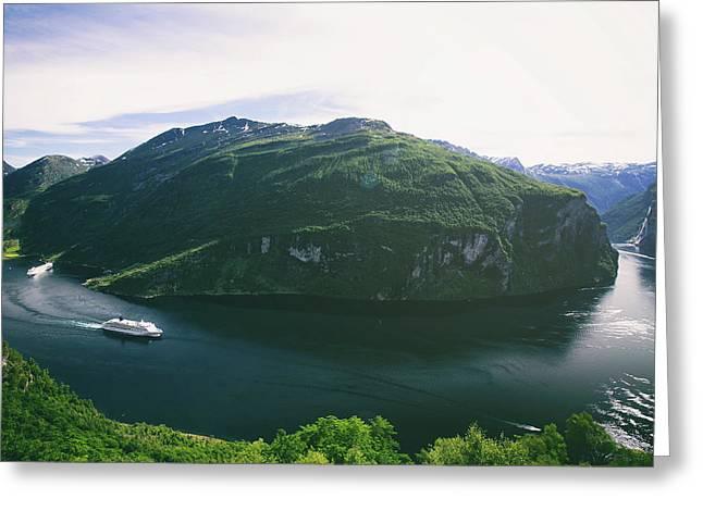 Panoramic View Of Geiranger Fjord In Norway Greeting Card by Oksana Bystritskaya