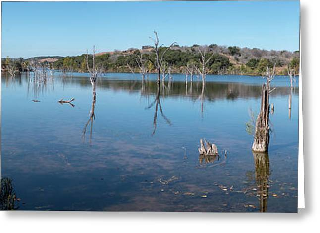 Panoramic View Of Large Lake With Grass On The Shore Greeting Card