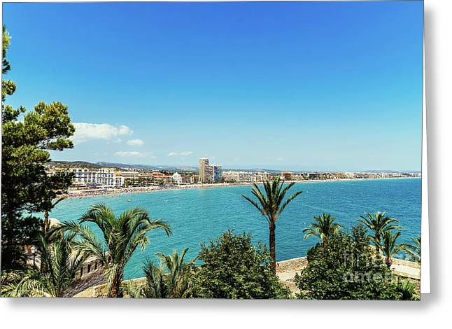 Panoramic View Of Peniscola City Holiday Beach Resort At Mediterranean Sea In Spain Greeting Card