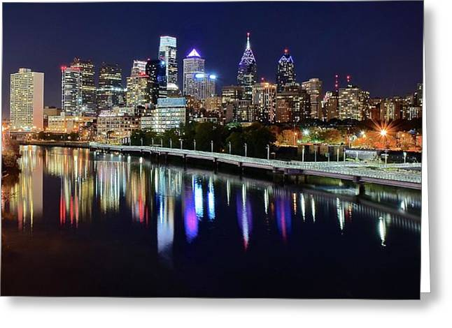 Panoramic View Of Philly Greeting Card by Frozen in Time Fine Art Photography