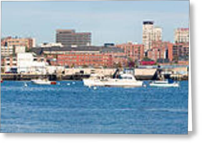 Panoramic View Of Portland Harbor Boats Greeting Card