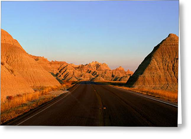 Panoramic View Of Road Going Greeting Card by Panoramic Images