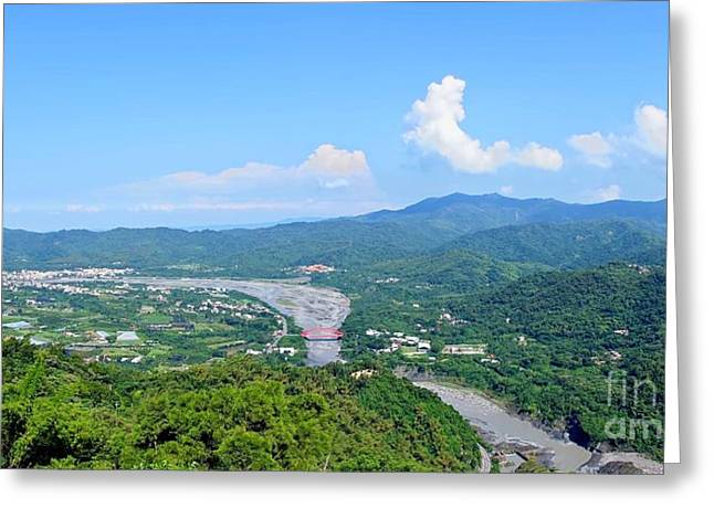 Greeting Card featuring the photograph Panoramic View Of Southern Taiwan by Yali Shi