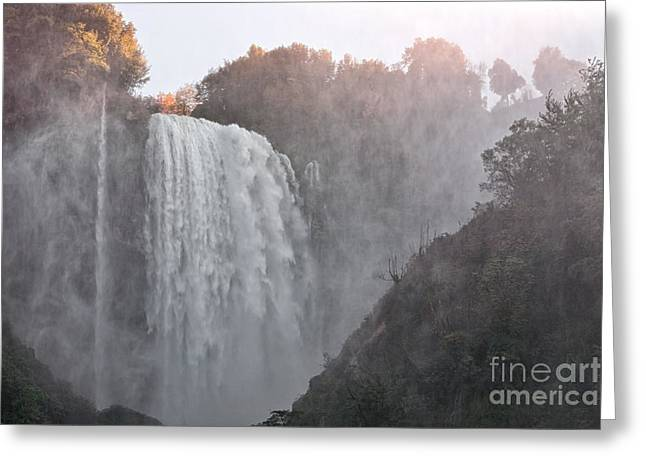 Panoramic View Of The Marmore Waterfalls Greeting Card