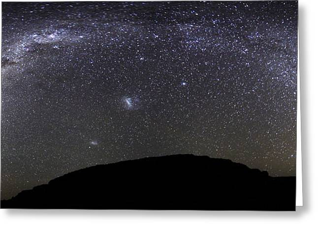 Panoramic View Of The Milky Way Greeting Card by Luis Argerich