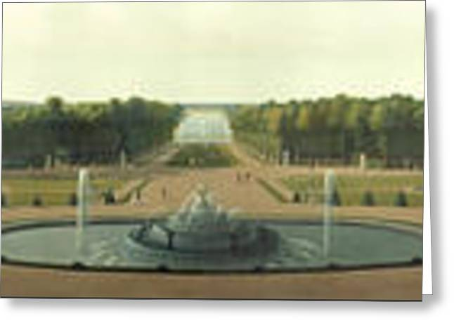 Panoramic View Of The Palace And Gardens Greeting Card